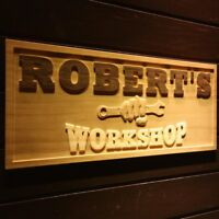 wpa0218 Name Personalized WORKSHOP Garage Man Cave Wood Engraved Wooden Sign