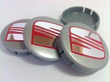SEAT 4pcs Plastic Wheel Centre Caps with Chromed Emblem 60mm/55mm NEW