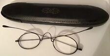 Antique Victorian Papier-Mache Glasses Case (18cm Length) & Wire Frame Glasses