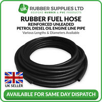 Rubber Fuel Hose Reinforced Unleaded Petrol Diesel Oil Line Pipe Black NEXT DAY