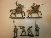 Konvolut 6 alte Hausser Elastolin Massefiguren Ritter Reiter zu 7cm