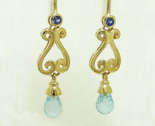 E056 Genuine 9K 9ct SOLID Gold NATURAL SAPPHIRE & TOPAZ Drop Earrings Scrolls