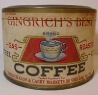 Rare Vintage 1930s GINGRICH CASH & CARRY COFFEE TIN 1 POUND LAFAYETTE INDIANA IN