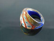 "Handmade Murano Glass Silver Foiled Lampwork Handmade Blue Ring Size US 8"""