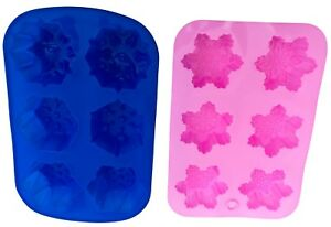 NEW Set of 2 Silicone Snowflake Christmas Soap Cake Mold DIY Molds Moulds Xmas
