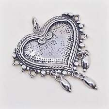 Vintage Gheaui handmade sterling silver charm, 925 heart pendant with dangles