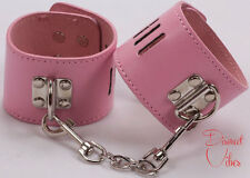SEXY PINK LEATHER HANDCUFFS HAND CUFFS Female Costume Dress Up Party HOT