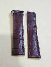 For 22mm Tag Heuer brown croco design leather Strap Band with silver Clasp