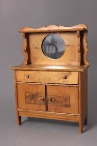 Doll's Antique Wooden Buffet with Mirror & Carvings on Front