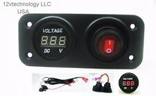 12V Battery Bank Voltmeter Monitor RV Marine House Starting Wired + Switch Red