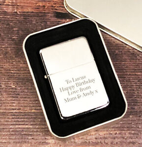 Personalised Silver Lighter Mens Birthday Gifts Ideas For Dad Fathers Day Him