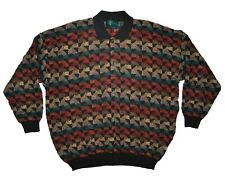 Tundra Canada 3D Knit Polo Sweater Size XXL Colorful Cotton 2XL Coogi Style