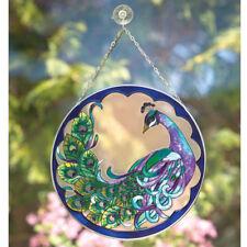 Bits and Pieces - Peacock Art Glass Suncatcher - Hand Painted Window Decor