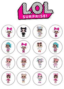 Cake edible icing sheet Cake topper LOL Dolls in circles free UK post,  A4 Sheet