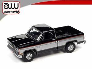 AUTO WORLD 1:64 GLOSS BLACK 1981 CHEVY SILVERADO C10 PICKUP - *PRESALE*