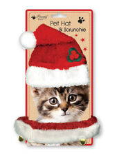 Christmas Small Dog Cat Santa Hat Outfit Collar Bell Xmas Elastic Gift Costume