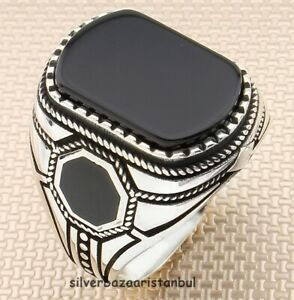 Lux Handmade Red Agate Aqeeq Stone 925 Sterling Silver Turkish Men Ring All Size
