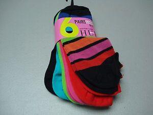 NWT Women's HUE Sport Cotton Foot Liner Footie Sock 6 Pair Shoe 6-9 Multi #456J