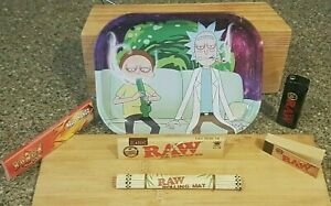 Rolling Tray Smoking Gift Set, Rick and Morty, Rolling papers, RAW Black lighter