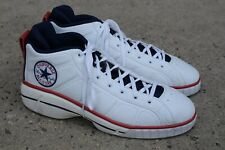Converse All-Star React White Red & Blue Leather Basketball Sneakers sz 18 MENS