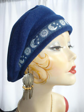 Navy Blue Polar Fleece Beret with Celestial trim d8bcdcefc253