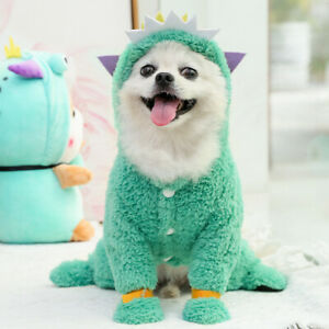 Green Soft Hoodie Pet Clothes Four-leg Fleece Puppy Small Dog Cat Warm Coat US