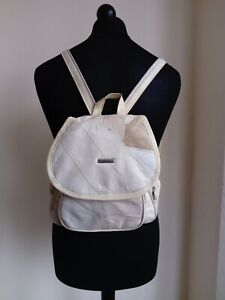 Womens Creme Patchwork Faux Leather Backpack School Bag - Small size