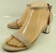 Betsey Johnson Wos Shoes NYLA US 7 B Pink Suede Faux Pearl Heel Ankle Strap 1223