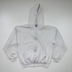 Vintage Russell Athletic Hooded Sweatshirt Adult Medium White USA Made 90s