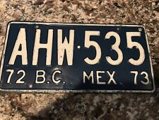 1972  Mexico License Plate AHW 535