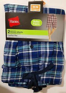 2 Men's Hanes Tagless S, Med, Large, XL or 2XL Comfort Flex Woven Sleep Shorts