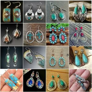 Turquoise Earrings Ear Hook Fashion 925 Silver Women Jewelry Wedding Dangle Drop