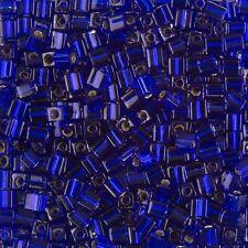 Miyuki argento foderato COBALTO 4mm quadrato (cubo) vetro SEMI PERLINE 20g tubo (B86 / 11)