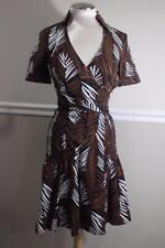 Karen Millen fern print brown black dress size 2 (r10000