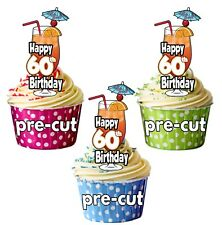 60th Birthday Cocktail Glass - Precut Edible Cupcake Toppers Cake Decorations