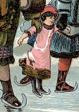 1880's ICE SKATING DOLL w/ GIRLS ~ GATES CHAMPION COFFEE TRADE CARD, CUTE  C410