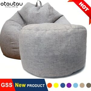 Bean Bag Stool with Filling Pouf Footstool Round Stool Futon Puff Relax Lounge