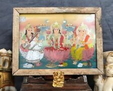 VINTAGE INDIAN REVERSE GLASS PAINTING. THREE HINDU DEITIES. RAJASTHAN.