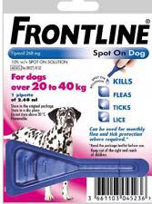 FRONTLINE SPOT ON FLEA TREATMENT LARGE DOGS 20-40KG 1 TREATMENT, FREE POST,,