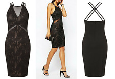BNWT Lipsy Fleur East Textured Lace Mesh Panel Bodycon Shift Dress UK10 RP £65
