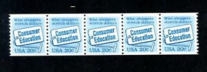 US Scott # 2005 - MH - Platew # 2 Coil Strip of 5 Stamps - CV=$40.00