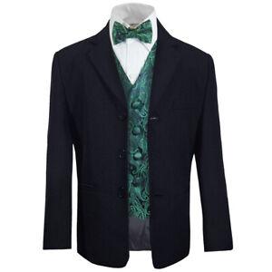 Paul Malone Konfirmationsanzug blau 5tlg Anzug mit Weste + Fliege grün paisley