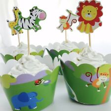 12x Animal Jungle Safari Zoo Cupcake Toppers + Wrappers. Cake Lolly Loot Bag