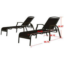 Set Of 2 Outdoor Chaise Lounges Tan Patio Yard Garden Pool Furniture NEW
