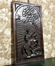 Medieval hunting scene wood carving panel Antique french architectural salvage