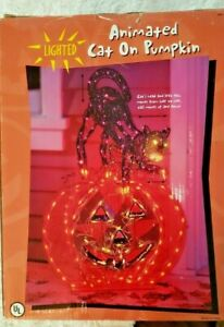 RARE Animated Lighted Cat on Pumpkin in/outdoor Halloween YARD Decor Prop *VIDEO