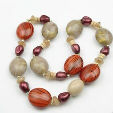 VINTAGE BANDED BEAD CORAL STYLE LADIES NECKLACE