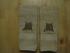New 2 Realistic OWL Embroidered Hand Towels,Northwoods, lodge cabin decor