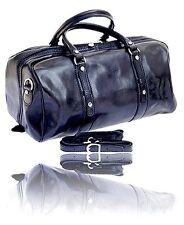 Timmari Italian Leather Black Medium Travel Duffel Bag Luggage Suitcase Carry On