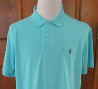 NWT POLO RALPH LAUREN Mens sz XXL AQUA BLUE S/S Golf Polo Shirt w/ Purple Pony